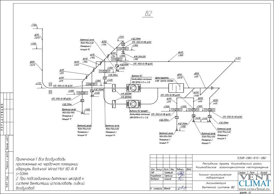 аксонометрия вытяжной системы