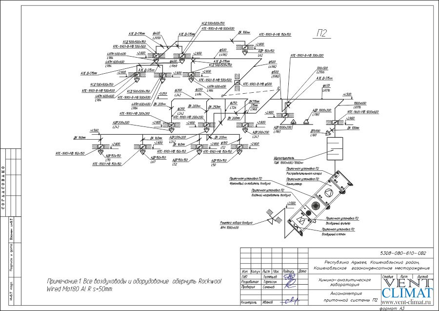 аксонометрия приточной системы